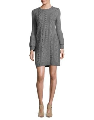 Long Sleeve Cable-Knit Sweater Dress by Eliza J