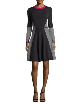Colorblocked Knit Fit-&-Flare Dress by Eliza J
