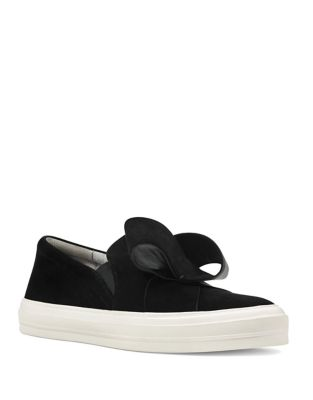 Odienella Bow-Accent Suede Sneakers by Nine West