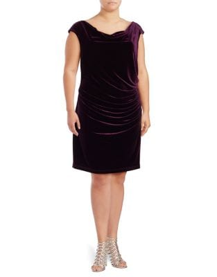 Plus Ruched Velvet Dress by Vince Camuto