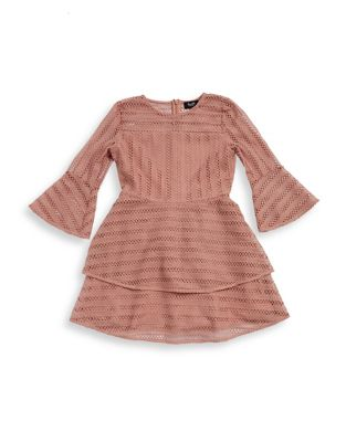 Girl's Tiered Lace Bell-Sleeve...