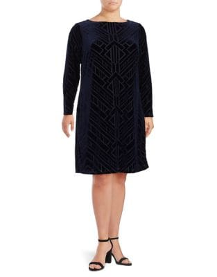 Plus Tribal Velvet Sheath Dress by Vince Camuto