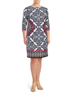 Plus Medallion Shift Dress by Eliza J