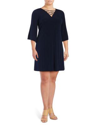Plus Lace-Up Shift Dress by Eliza J