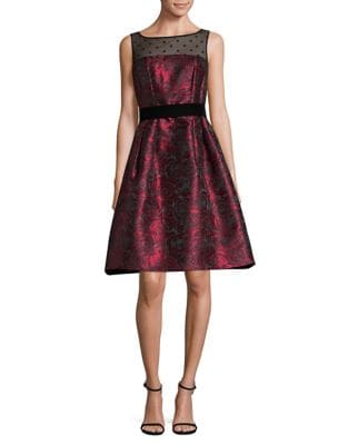 Floral Metallic Fit-&-Flare Dress by Eliza J