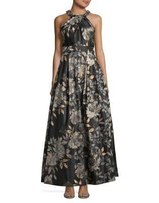 Floral Halterneck Gown by Eliza J