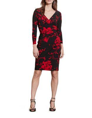 Petite Jersey Surplice Sheath Dress by Lauren Ralph Lauren
