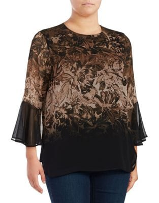 Plus Floral Flare-Sleeve...