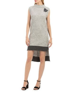 Hi-Lo Hem Sweater Dress by Nicole Miller New York