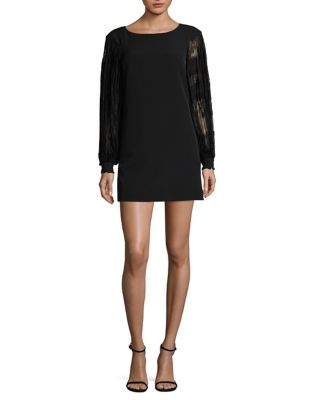 Photo of Lace-Sleeve Shift Dress by Laundry by Shelli Segal - shop Laundry by Shelli Segal dresses sales