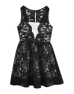 Girls Lace Scallop Dress