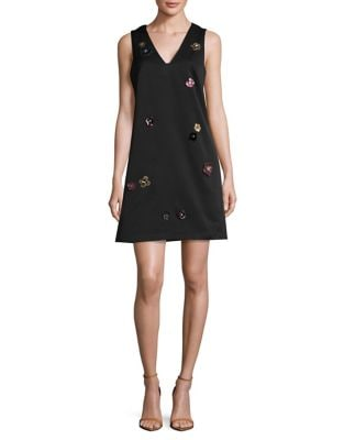 3D Floral Applique A-Line Dress by Nicole Miller New York