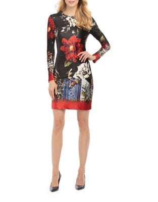 Velvet Floral Sheath Dress by Nicole Miller New York