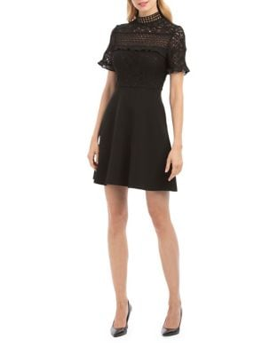 Crochet Detail Fit-&-Flare Dress by Nicole Miller New York