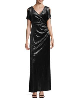 Velvet Wrap Column Gown by Lauren Ralph Lauren