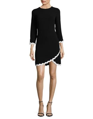 Three-Quarter Sleeve Scallop Trim Dress by Shoshanna