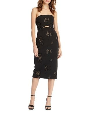 Strapless Embroidered Dress by ML Monique Lhuillier