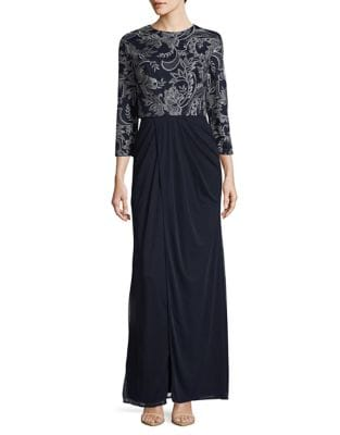 Embroidered Floral Blouson Dress by JS Collections
