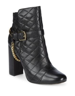 Chain Quilted Leather Booties by Karl Lagerfeld Paris