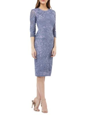 South Forest Sheer Sleeve Sheath Dress by JS Collections