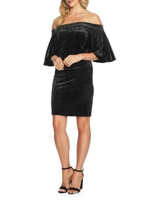 Velvet Off-the-Shoulder Bodycon Dress by Cynthia Steffe