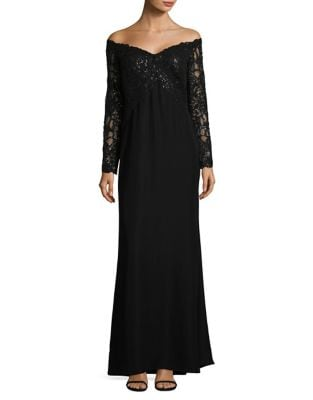 Sequined Off-The-Shoulder Gown by Tadashi Shoji