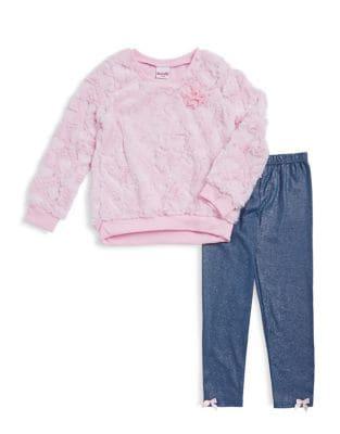 Little Girls TwoPiece Sweetheart Faux Fur Top and Twinkling Leggings Set