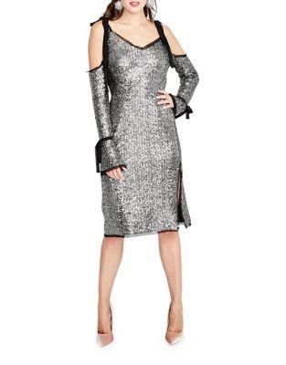 Sequined Cold-Shoulder Sheath Dress by RACHEL Rachel Roy