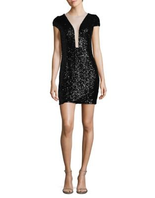 Cutout Detail Sequined Sheath Dress by Aidan Aidan Mattox