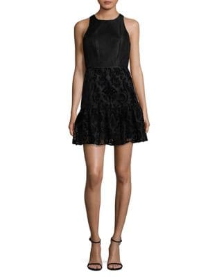 Sleeveless Velvet Fit-&-Flare Dress by Aidan Aidan Mattox