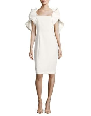 Origami-Sleeve Sheath Dress by Badgley Mischka Platinum