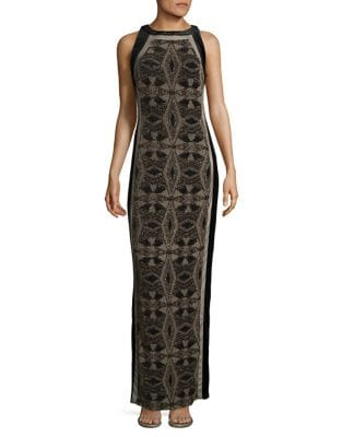 Metallic Geometric Column Gown by Aidan Aidan Mattox
