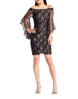 Lace Off-The-Shoulder Sheath Dress by Adrianna Papell