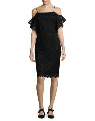 Off-the-Shoulder Flutter Sleeve Sheath Dress by Laundry by Shelli Segal
