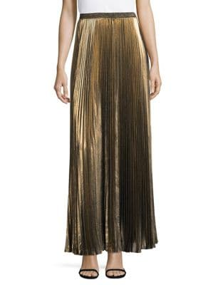 Metallic Accordion Full-Length Skirt by Eliza J