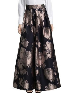 Floral Pleated Ball Skirt by Eliza J