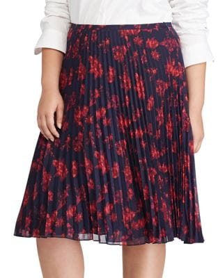 Plus Pleated Floral Midi...