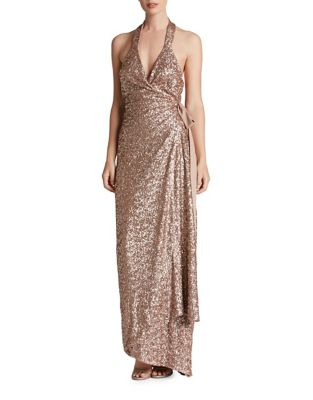 Giselle Plunging Sequin Wrap Gown by Dress The Population