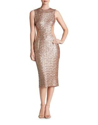 Ryan Sequin Bodycon Midi Dress by Dress The Population