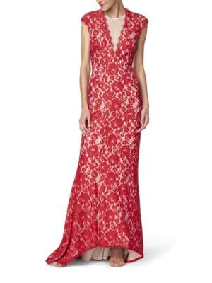 Lace Cap-Sleeve Gown by Aidan Aidan Mattox