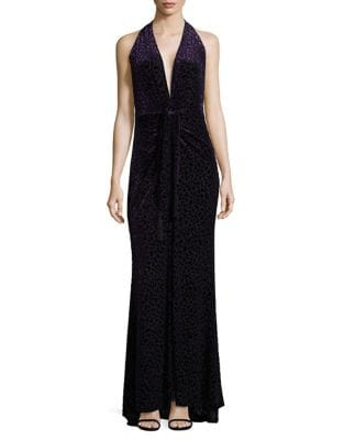 Leopard Burnout Halter Gown by BCBGMAXAZRIA