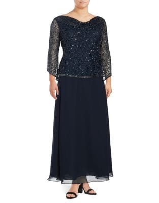 Plus Sequin Floor-Length Dress by J Kara