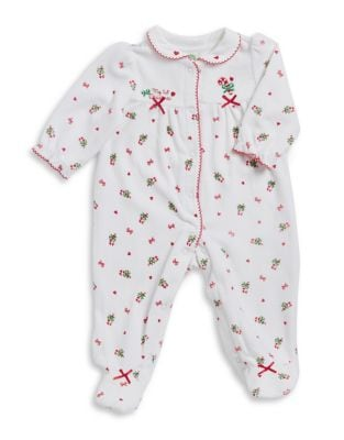 Baby Girls Bow Candy Cane Footie