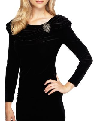 Ruched Velvet Blouse by Alex Evenings