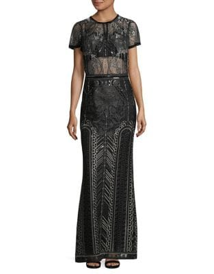 Embroidered Floor-Length Column Gown by Marchesa Notte