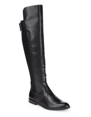 Almond Toe Knee-High Leather Boots by Calvin Klein