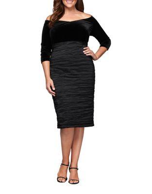 Plus Velvet Off-The-Shoulder Sheath Dress by Alex Evenings