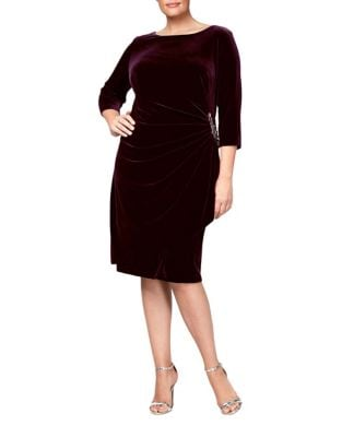 Plus Ruched Velvet Sheath Dress by Alex Evenings