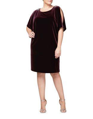 Plus Batwing Velvet Shift Dress by Alex Evenings