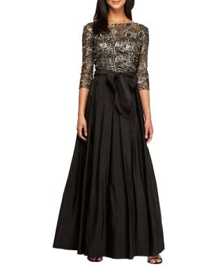 Plus Sequined A-Line Ball Gown by Alex Evenings